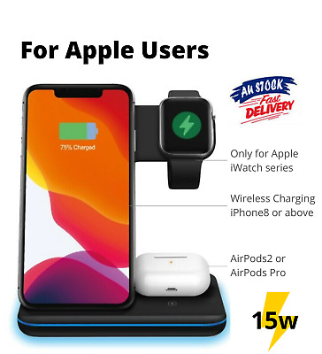 AU31.99 • Buy 15W 3 In 1 Wireless Fast Charger Dock For IPhone 12 Pro Max Airpod Apple Watch
