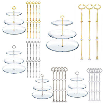 £9.99 • Buy 3/5/10 Set Cake Plate Stand 3 Tier Centre Handle Fitting Tea Party Decor Rod Kit