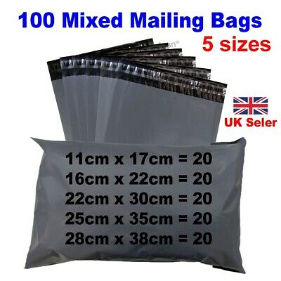 £5.95 • Buy 100 Mixed Mailing Bags Strong Grey Plastic Poly Postal Postage Mailer -5 Sizes
