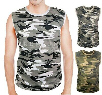 £5.99 • Buy Mens Camouflage VESTS Sleeveless Tank Top Training Gym BodyBuilding Comfy Fit