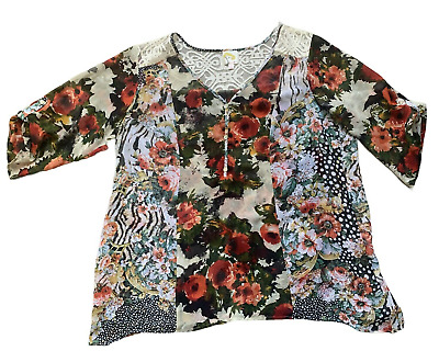 $ CDN30.32 • Buy Anthropologie Fig And Flower Floral Top Sheer Tunic 3/4 Sleeves Size 2XL White