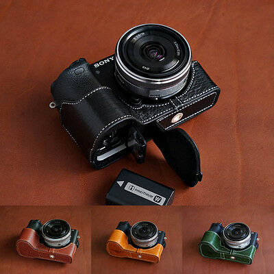 $ CDN68.91 • Buy Genuine Real Leather Half Camera Case Bag Cover For Sony A6500 8 Color B OPEN