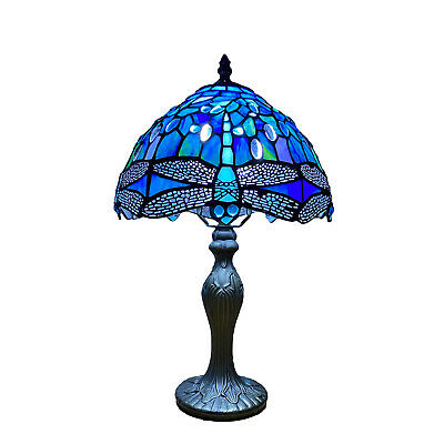 £61.99 • Buy Tiffany Style Table Desk Lamp Beautiful Dragonfly Design  Stained Glass Shade UK