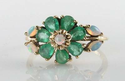 £339 • Buy Antique Art Deco Ins  9k 9ct Gold Colombian Emerald Opal Daisy Ring Free Size