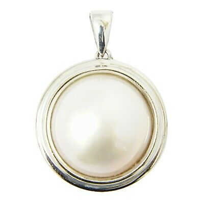 $299 • Buy Mabe Pearl 14mm Pendant Top Necklace Charm K14 White Gold 3.4 G