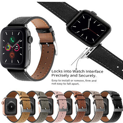 $ CDN14.87 • Buy 38/40mm 42/44mm Strap Band Genuine Leather For Apple Watch Series 6/5/4/3/2/1/SE