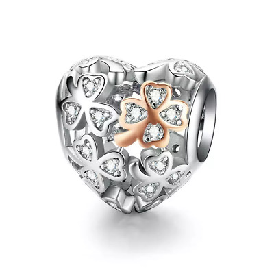 AU27.99 • Buy SOLID Sterling Silver Rose Gold Lucky Clover Heart Charm By Pandora's Wish