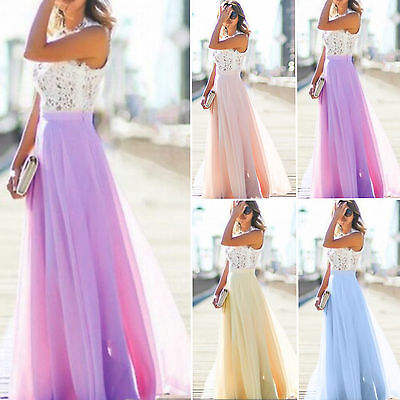 £16.19 • Buy Womens Lace Crochet Maxi Dress Bridesmaid Wedding Party Cocktail Prom Party Gown
