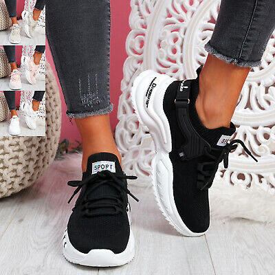 $ CDN37.50 • Buy Womens Ladies Chunky Sneakers Knit Lace Trainers Sport Women Shoes Size Uk