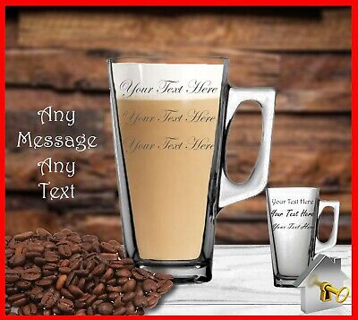 £8.99 • Buy Personalised Latte Glass Engraved Coffee Glass Birthday Gift Any Occasion Gifts