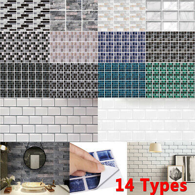 £4.98 • Buy Mosaic Tile Wall Stickers Self-adhesive Home Stick On Kitchen Bathroom Decor NEW