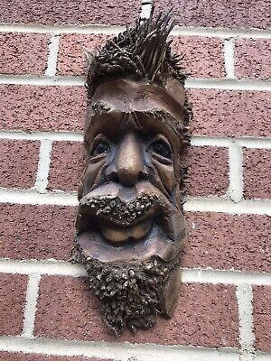 £19.99 • Buy ChiselCraft L Wooden Root Tree Spirit Face Green Man In Or Out Carving Wood 8