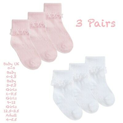 £3.99 • Buy 3 Pairs Newborn Baby & Girls School Socks Soft Breathable Cotton Frilly Lace