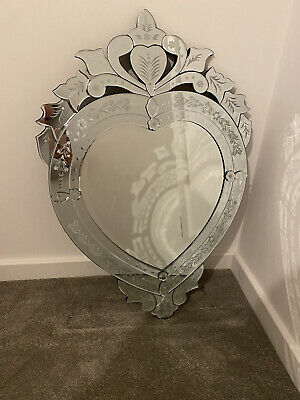 £240 • Buy Venetian Glass Etched And Beveled Ornate Heart Shaped Wall Mirror
