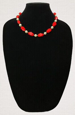 Vintage Necklace Red Beads Faux Pearls Collar Length Kitsch Costume Jewellery • 9.99£