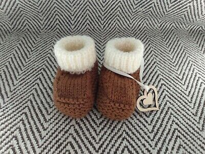£3.50 • Buy Knitted New Baby Booties/Boots, Ready Gift Wrapped 0-3 Months Cute Uggish Style