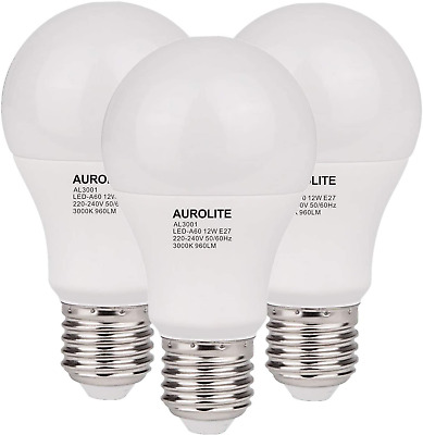 AU20.06 • Buy AUROLITE Pack Of 3 LED A60 Bulbs, E27/ES Cap, 12 Watts 960 Lumens, Day Light (65
