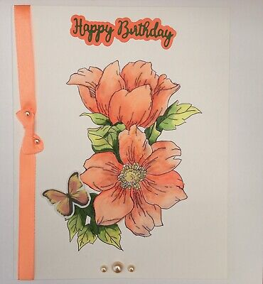 £4.99 • Buy Hand Painted Birthday Card & Envelope. Orange Flowers With Matching Ribbon/bow