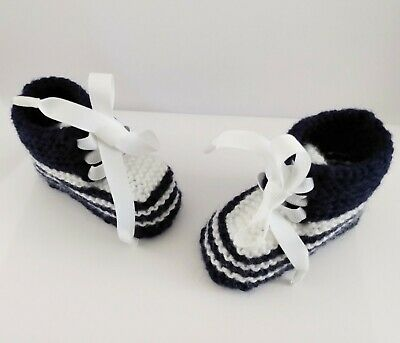 £3.75 • Buy Knitted New Baby Booties Navy & White READY GIFT WRAPPED 0-3 Mths Super Cute