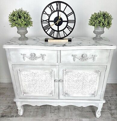 £275 • Buy Stunning French Inspired Sideboard With Resin Marble Top   Cabinet   Rustic