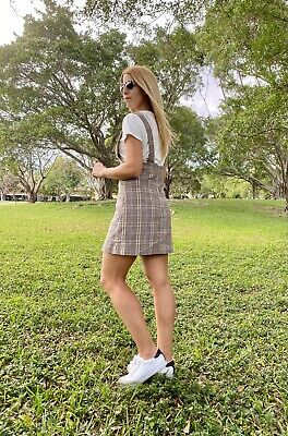 $25.50 • Buy ZARA Plaid Pinafore Dress Brown Size XS/S (New With Tags)