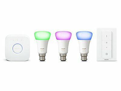AU274.07 • Buy Philips Hue White Colour Ambience Richer Colours B22 BC Starter Kit With Dimmer