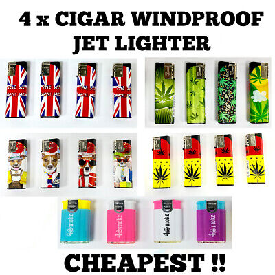 £4.19 • Buy 4 X CIGAR WINDPROOF TURBO JET FLAME ELECTRONIC LIGHTER (Refillable)