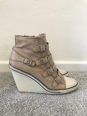 £29.99 • Buy Ash Boots Size 7 Beige Leather Wedge Trainers EU 40 High Heel Shoes