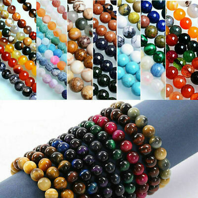 $ CDN1.57 • Buy Natural Gemstone Round Spacer Loose Beads 4mm 6mm 8mm 10mm 12mm Assorted Stones
