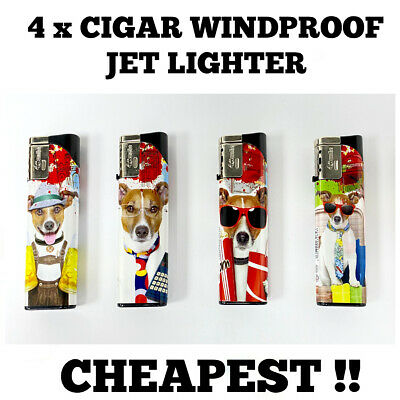 £3.35 • Buy 4 X LIGHTER CIGAR WINDPROOF TURBO JET FLAME ELECTRONIC LIGHTER (Refillable)
