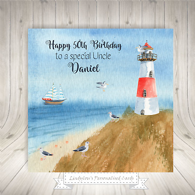 £2.60 • Buy Lighthouse Personalised Birthday Card Sister Daughter Son Brother Auntie Uncle