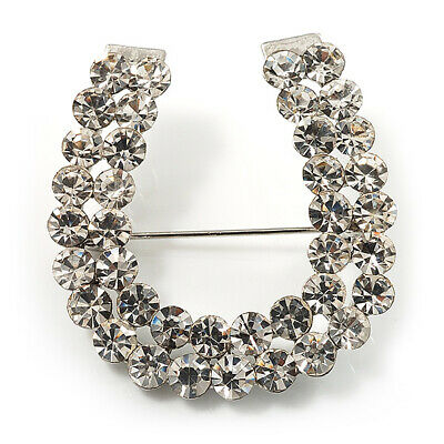 Clear Crystal Lucky Horseshoe Brooch (Silver Tone) • 9.80£