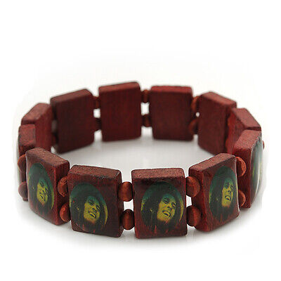 £3.55 • Buy Brown Bob Marley  One Love  Wooden Stretch Bracelet - Up To 20cm Length