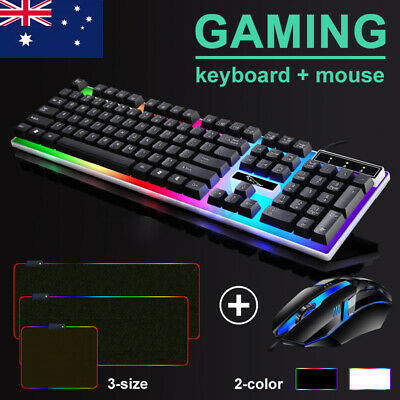 AU18.99 • Buy T6 Gaming Keyboard And Mouse Set For PC Laptop Rainbow Backlight USB W Mouse Pad
