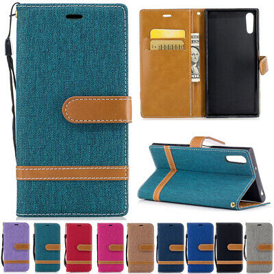 AU80 • Buy For Sony Xperia XZ XZ1 XA1 Magnetic Flip Leather CANVAS Wallet Card Case Cover