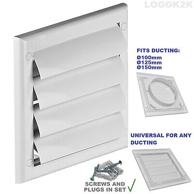 £3.99 • Buy Gravity Flaps Louvre Cover Air Vent Grill White Ventilation Duct Fan Wall Grille