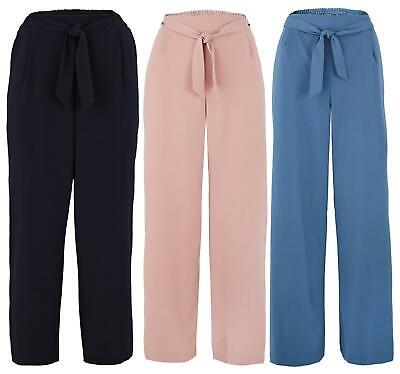 £13.99 • Buy Ladies Wide Leg Belted Plus Size Curve Work Casual Trousers