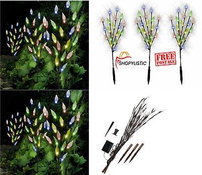 60 LED Branch Leaf Tree Solar Power Lights Outdoor Garden Path Patio 3 Packs New • 13.45£
