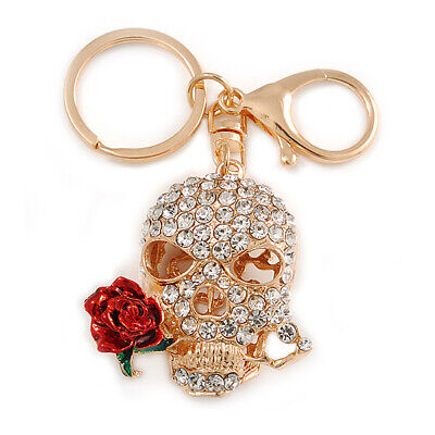 £11 • Buy Clear Crystal Skull With Red Rose Keyring/ Bag Charm In Gold Tone - 11cm L