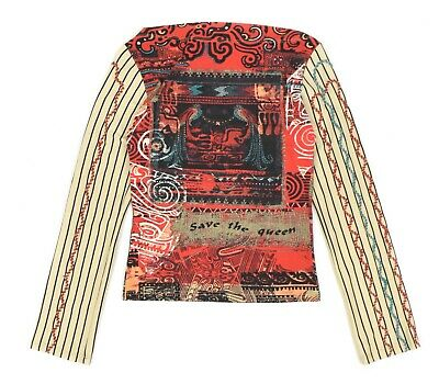 AU98.32 • Buy Womens Save The Queen Long Sleeve T-Shirt Quirky Style Italy Viscose Size M