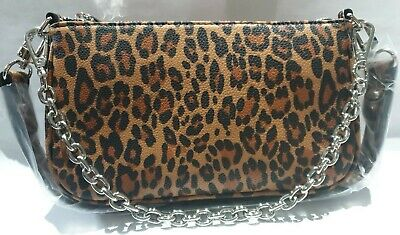 £14 • Buy Urban Outfitters Chain Accent Leopard Print Shoulder Bag