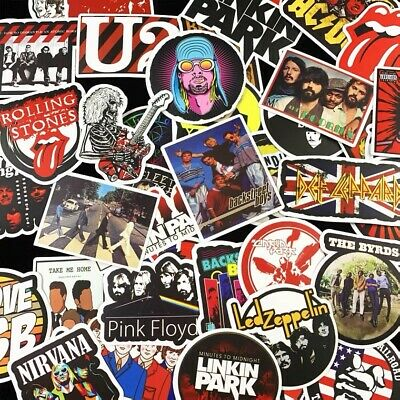 £4.33 • Buy 50 Rock Stickers Metal Punk Bands Guitar Amp Music Decal Stickerbomb Skateboard