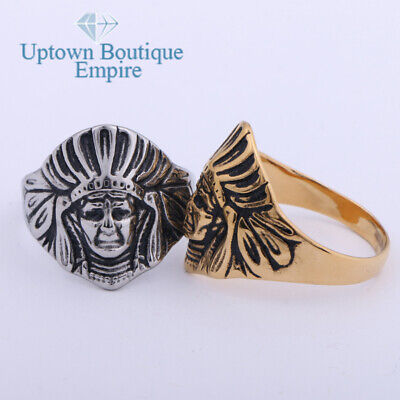 £9.22 • Buy Vintage Indian Chief Head Men's Stainless Steel Pinky Ring Size:8-13 #IJ