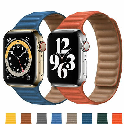 £12.95 • Buy For Apple Watch Series SE 6/5/4/3/2/1 Magnetic Loop Leather IWatch Strap Band
