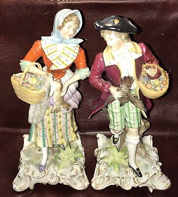 $ CDN188.30 • Buy Porcelain French Figurines Gentlemen And Lady, Makers Mark Unknown Collectable