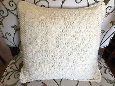 "£12.06 • Buy Vintage Hand Knit Cable Knit Crochet Cream Throw Pillow 14"" X 14"" Wool"