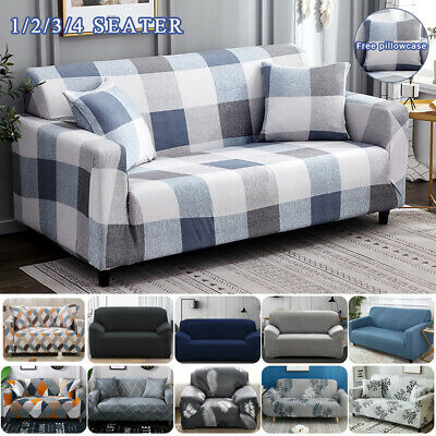 AU19.99 • Buy Sofa Covers 1/2/3/4 Seater High Stretch Lounge Slipcover Protector Couch Cover E