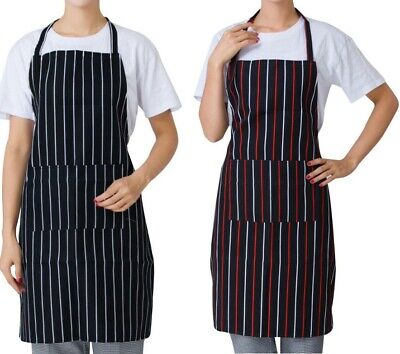 £4.29 • Buy Chefs Apron With Pockets BBQ Baking Catering Striped Apron For Men Women Ladies