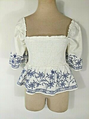 $ CDN49.49 • Buy Anthropologie Show Me Your MuMu Maria White Blue Embroidered Top Size Medium NWT