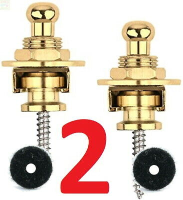 $ CDN8.99 • Buy 2 Gold Strap Locks Guitar Locking Buttons Fasteners Screw Electric Safety Mount